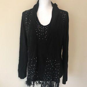 Karen Scott Black Embellished Sweater With Scarf